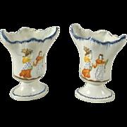 Rare Pair Antique 18th century Prattware Vases 1790