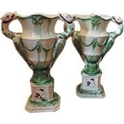 Rare Pair 18th c. Prattware Urns 1790