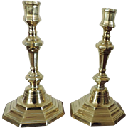 Pair Antique 18th century French Baroque Brass Candlesticks
