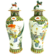 Pair Antique 19th century Chinese Export Porcelain Garniture Vases in Famille Vert Glaze