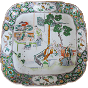 Antique 19th century Chinese Export Porcelain Square Dish in Famille Vert Glaze