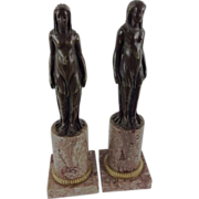 Pair Antique 19th century Bronze Figures of Egyptian Maidens on Marble Columns