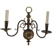 Pair Antique 19th century Dutch Brass Wall Sconces