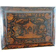 Antique 19th century English Regency Penwork Jewelry Stationery Box in Chinese Lacquer Taste