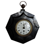 Antique 19th century French Tole Cartel Clock with White Enamel Face & Ormolu Collar