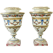 Pair Antique 18th century French Sevres Porcelain Urns or Vases