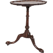 Antique 18th century Georgian Carved Mahogany Pie Crust Tilt Top Occasional Tea Table
