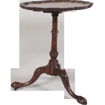Amazing Antique 18th Century Georgian Carved Mahogany Pie Crust Tilt Top Occasional  Tea Table