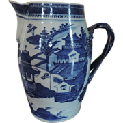 Antique Early 19th century Chinese Export Porcelain Cider Jug or Pitcher with Canton Scenes in Blue & White