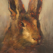 Antique 19th c. Oil Painting on Wood Panel Portrait of a Hare