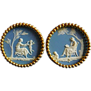 Fine Pair 19th century Wedgwood Blue Jasperware Architectural Plaques with Gilt Bronze Ormolu Collars