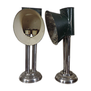 Antique 19th century Nickel Banquet or Library Desk Lamps with Tole Shades F. A. Walker & Co. Boston - Steampunk
