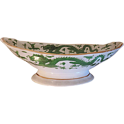 Large Early 19th century Coalport Porcelain Footed Centerpiece Bowl Green Dragon