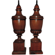 Pair 1940's Carved and Turned Wood Urn Lamps