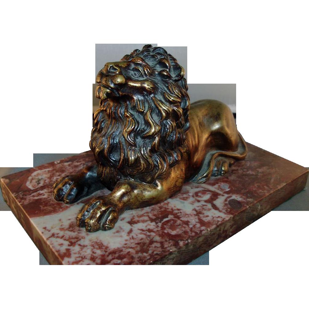 Antique 19th c. English Regency Bronze Model of the Trafalgar Lion on Rouge Marble Base