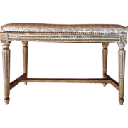 Antique French Louis XVI Carved Wood and Cream Painted Upholstered Bench 19th century