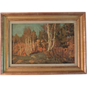 Russian Autumn Landscape Oil Painting on Board Signed & Dated 1917