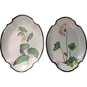 Pair Antique Early 19th c. English Swansea Botanical Creamware Quatrefoil Shaped Dishes
