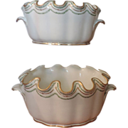 Pair Antique 18th century Sevres Monteiths with Neoclassical Sprig Borders