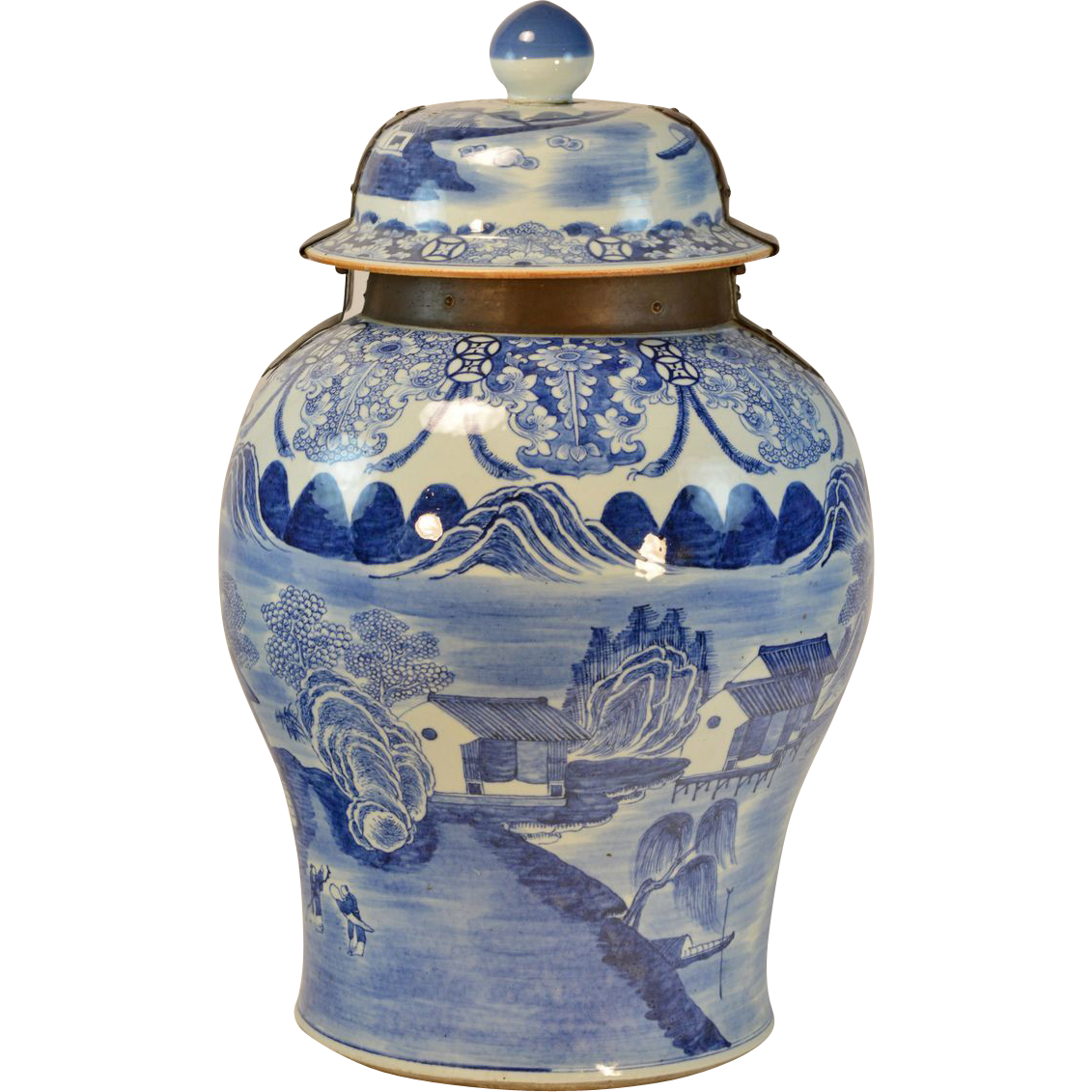 Giant 18th century chinese blue white porcelain palace floor giant 18th century chinese blue white porcelain palace floor vase or classic tradition ruby lane floridaeventfo Images