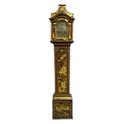 Antique 18th century English George III Japanned Lacquer Longcase Grandfather Clock by John Monkhouse 1765