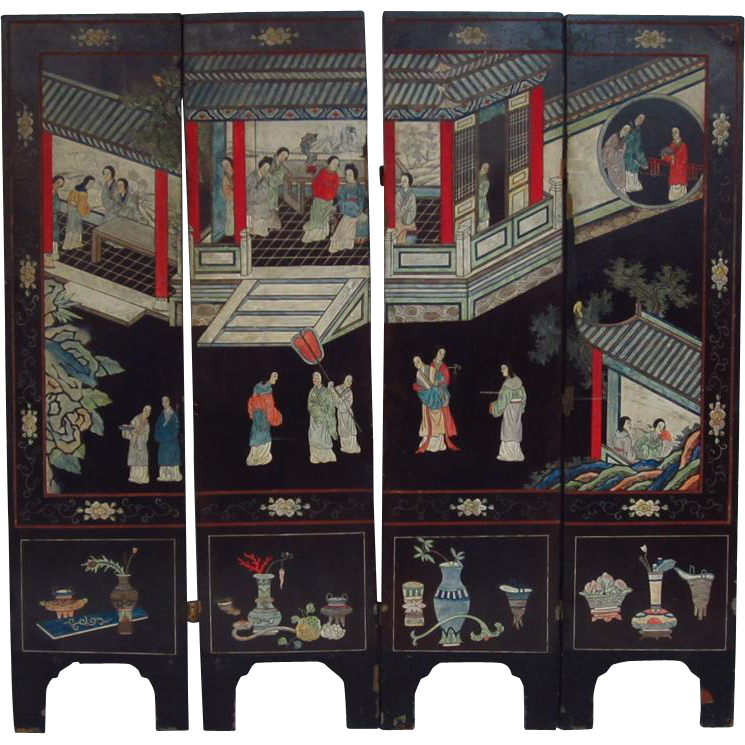 Antique 19th Century Chinese Black Lacquer Four Panel