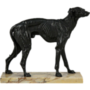 French Antique 19th c. Bronze Sculpture, Spanish Greyhound, After Pierre Jules Mene (France, 1810-1879)