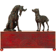 Meriden Britannia Company Enameled Copper Humidor or Box for Desk or Jewelry in the Aesthetic taste c. 1880.