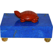 Lapis Lazuli Hinged Jewelry Desk Box Mounted with a Carved Jasper Turtle & Cornelian Feet by Loyd Paxton