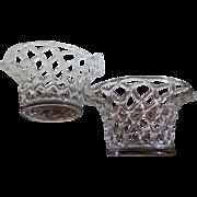 Antique 19th century American Blown Glass Centerpiece Fruit Basket Bowls