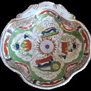 Antique 18th century English Coalport Imari Porcelain Shrimp Dish in the Dragon in Compartment Pattern