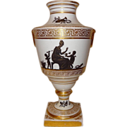 Antique Early 19th century Coalport Porcelain Urn with Classical Grisaille Decoration 1805