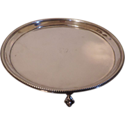 Antique 18th century George III Sterling Silver Salver Waiter Tray with Ball and Claw Feet by John Crouch and Thomas Hannam London 1784
