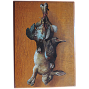 Antique 19th century Still Life Oil Painting on Oak Panel - Hare Rabbit and Game Birds Quail & Pheasant