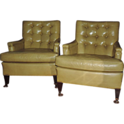 Pair Vintage Kittinger Tufted Leather Upholstered Club Chairs
