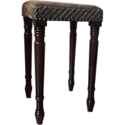 Antique 19th century English Regency Mahogany Needlepoint Stool