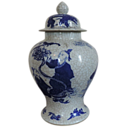 Antique 19th c. Chinese Blue & White Porcelain Jar with Cover Crackle Glaze