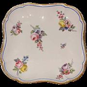 Antique 18th century Sevres Porcelain Square Dessert Dish Decocated with Floral Bouquets