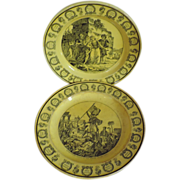 Two Antique 19th century French Creil Creamware Plates in Canary Yellow c. 1825 with Turkish and Greek Scenes Marked LL&T Montereau