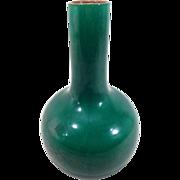 Antique Late Qing Chinese Monochrome Porcelain Bottle Shaped Vase in Apple Green Crackle Glaze