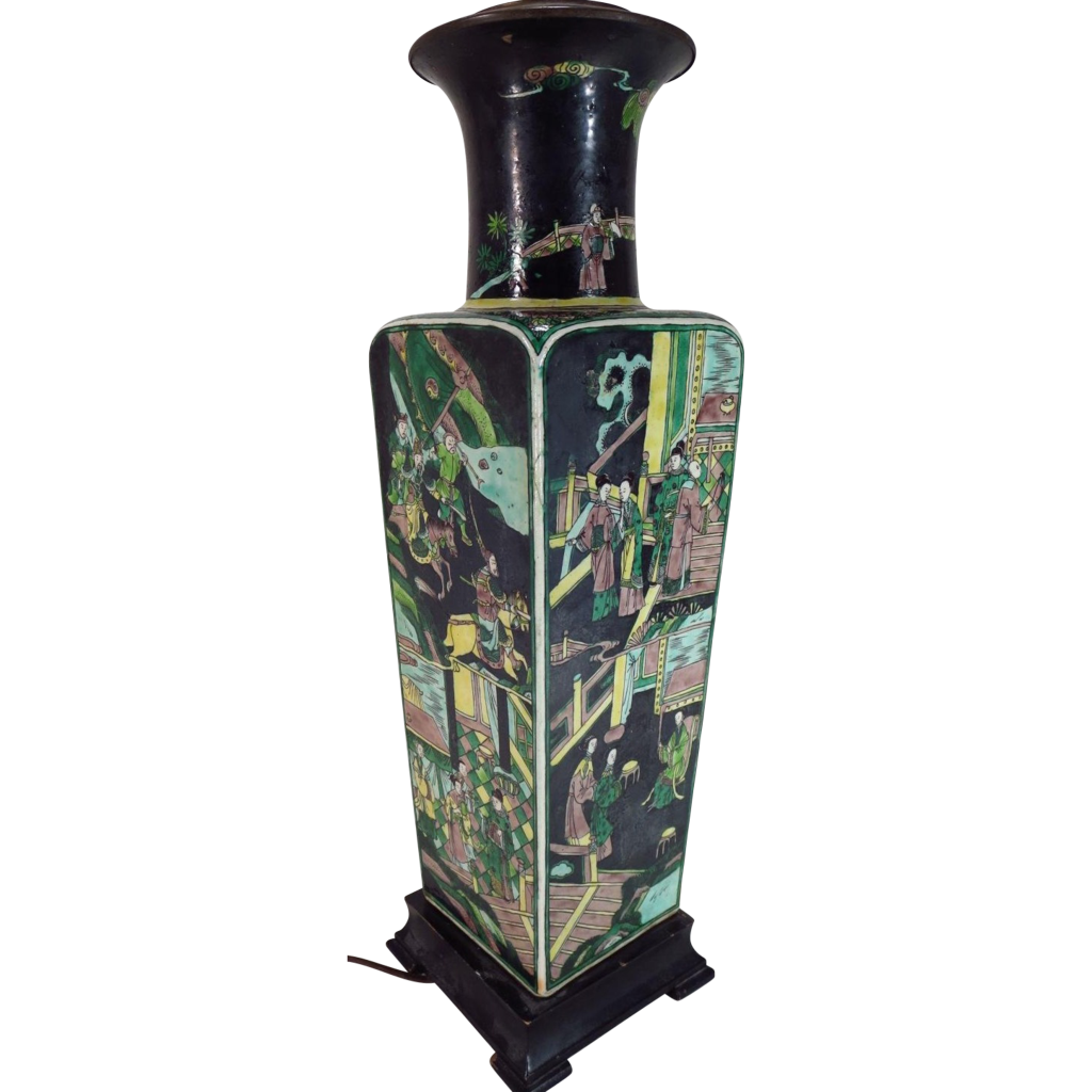 antique 19th century chinese porcelain famille noir square vase as a from classictradition on. Black Bedroom Furniture Sets. Home Design Ideas
