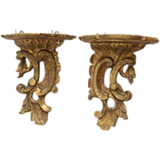 Pair 18th century Carved Giltwood Wall Brackets in the Chippendale Manner