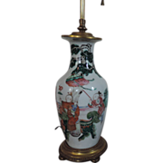 Antique 19th century Chinese Famille Verte Baluster Shaped Vase Mounted as a Lamp in French Ormolu