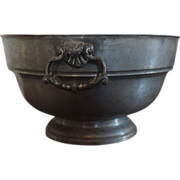 Antique 18th century English Pewter Punch Bowl with Rococo Ring Handles
