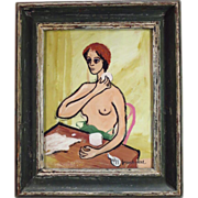 Frank W. Neal, African-American, 1915-1955 Gouache Painting of Semi-nude Woman Signed