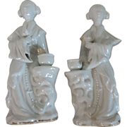 Pair Antique 19th century Chinese Blanc de Chine Porcelain Figures of Court Ladies as Incense Burners