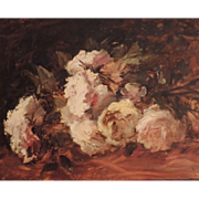 19th century Floral Impressionist Still Life Oil Painting on Board of Roses Signed Marcel Hess (1878 - 1948)