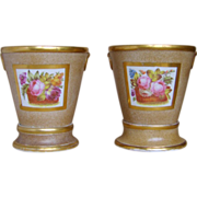 Pair Antique Early 19th century English Coalport Porcelain Root Pots and Stands 1805 - 1810