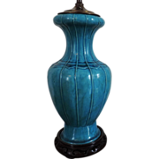 Antique 19th century Chinese Monochrome Turquoise Porcelain Vase as Lamp