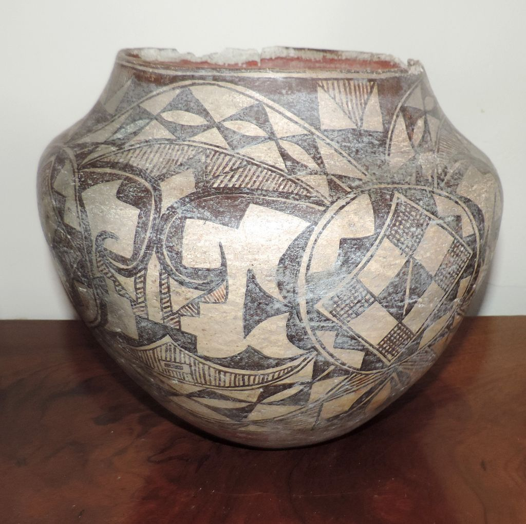 Large Antique Native American Indian 19th Century Acoma Pueblo Pottery From Classictradition On